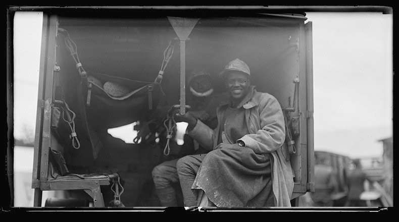 African American troops arrive in an ambulance at the American Red Cross military hospital in Auteuil, France. Credits: Library of Congress..