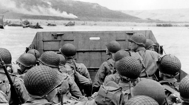 American troops approaching Omaha Beach, during the Invasion of Normandy on D-Day, 6 June 1944.
